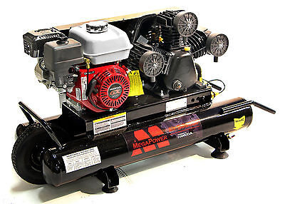 Gasoline Powered Air Compressor - 6.5 Hp Honda Gx200 Engine 10 Gallon Tank