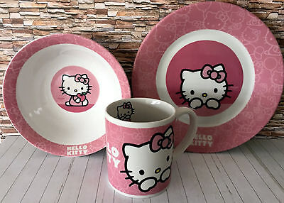Hello Kitty Porzellan 3teiliges Frühstücksset rosa