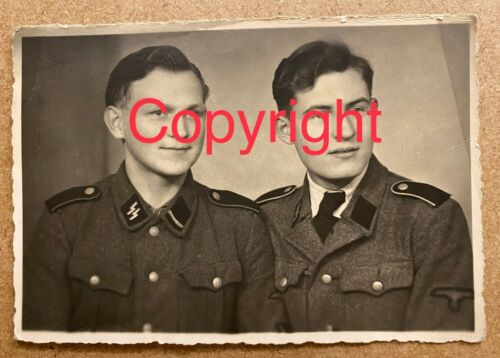 WW2 WAFFEN SS SOLDIERS PHOTOGRAPH IN UNIFORM TWO BROTHERS.WARTIME ORIGINAL.