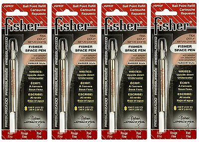 FOUR (4) Fisher Space Pen SPR Series Red Ink / Fine Point Refills #SPR2F Fisher Space Pen Fine Point