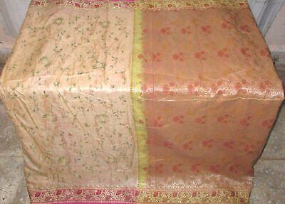 Pure silk Antique Vintage Sari HUCE LOT 4y S8 403 Cream Magenta DECOR #ABGMN