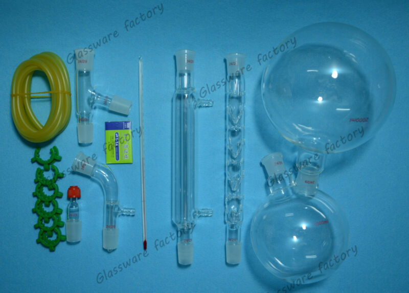 2000ml,24/29,Distillation Apparatus,lab rectifying Kit,lab glassware kit