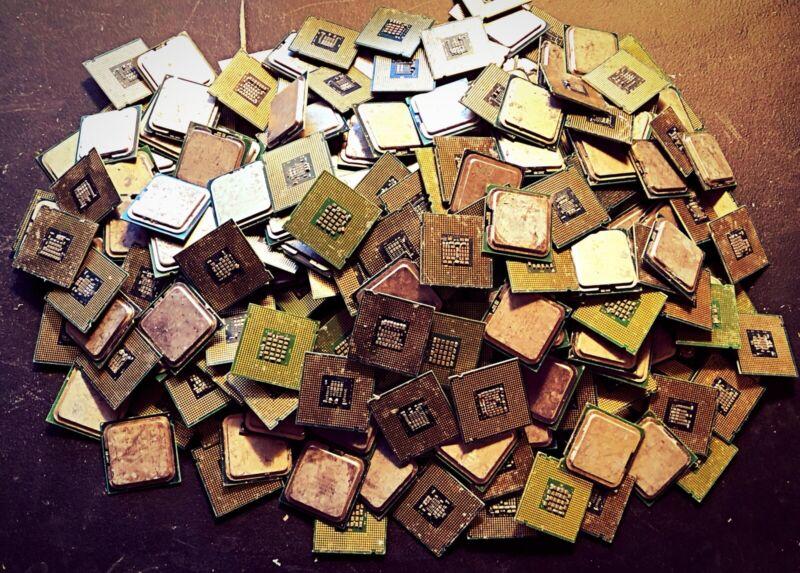 Gold Recovery - 14 Lbs Intel AMD Cpu Huge Scrap Refining lot