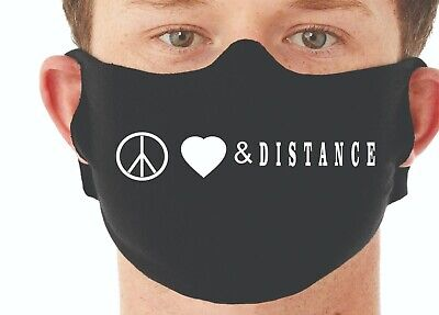 Face Mask, Reusable, Washable; ships in one day Made in USA  Peace Love Distance