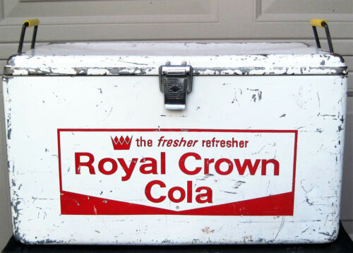 Vtg RARE WHITE Rc Cola ROYAL CROWN Cooler Metal Antique Old GLAMPING Ice Chest !