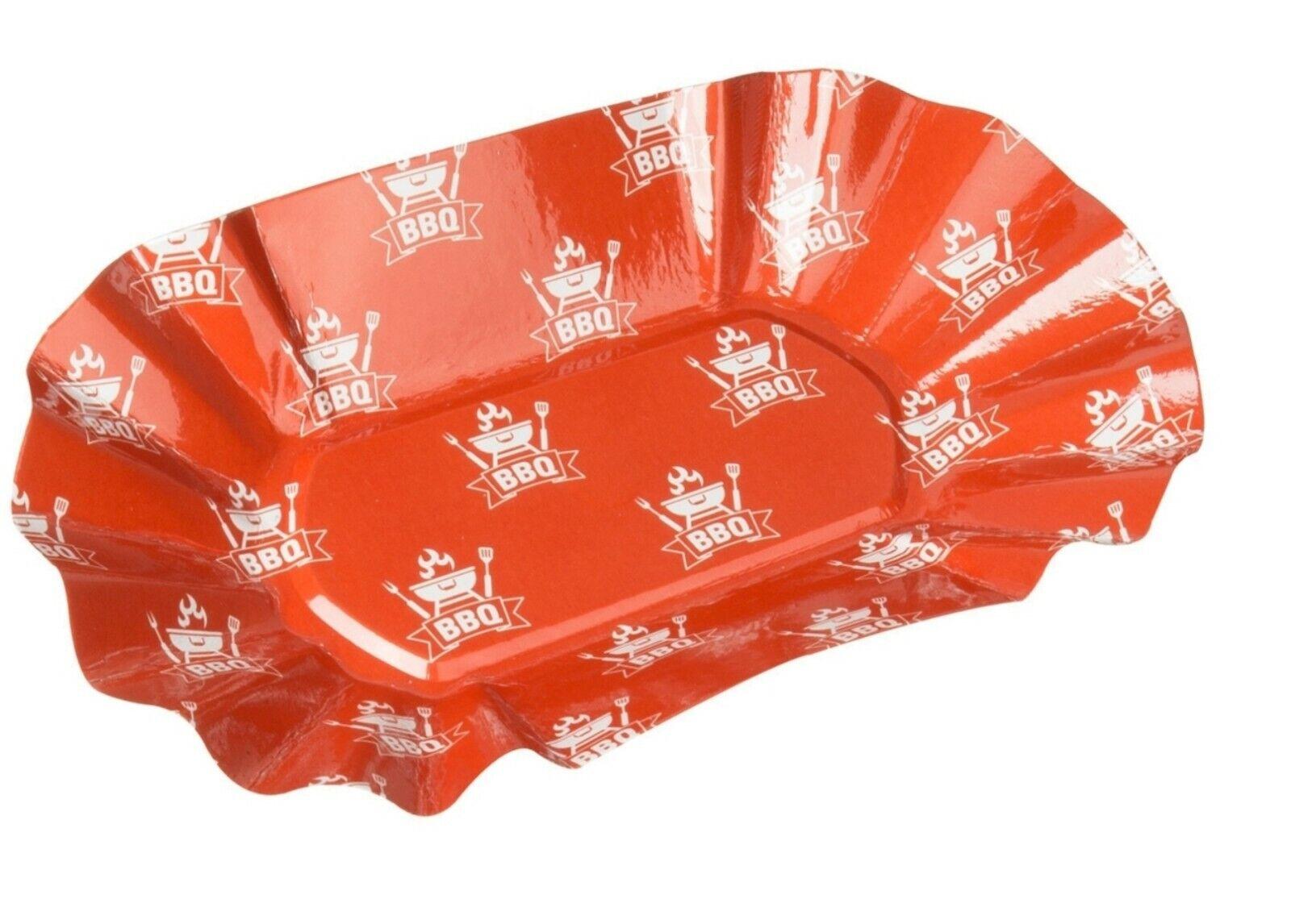 Pommesschalen BBQ, 8 Stück, Papierschalen Pappteller Einwegteller Partydeko