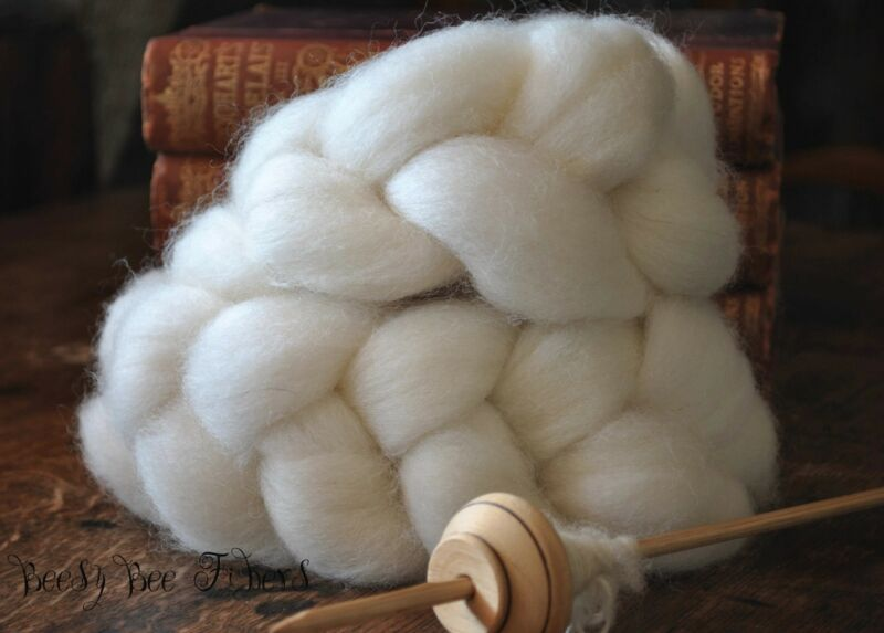 WHITE FINN Undyed Natural Combed Top Wool Roving Spinning Felting fiber - 4 oz