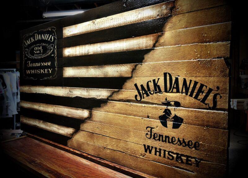 Jack Daniels Flag - Jack Daniels Sign - Wooden Flag - Rustic Decor