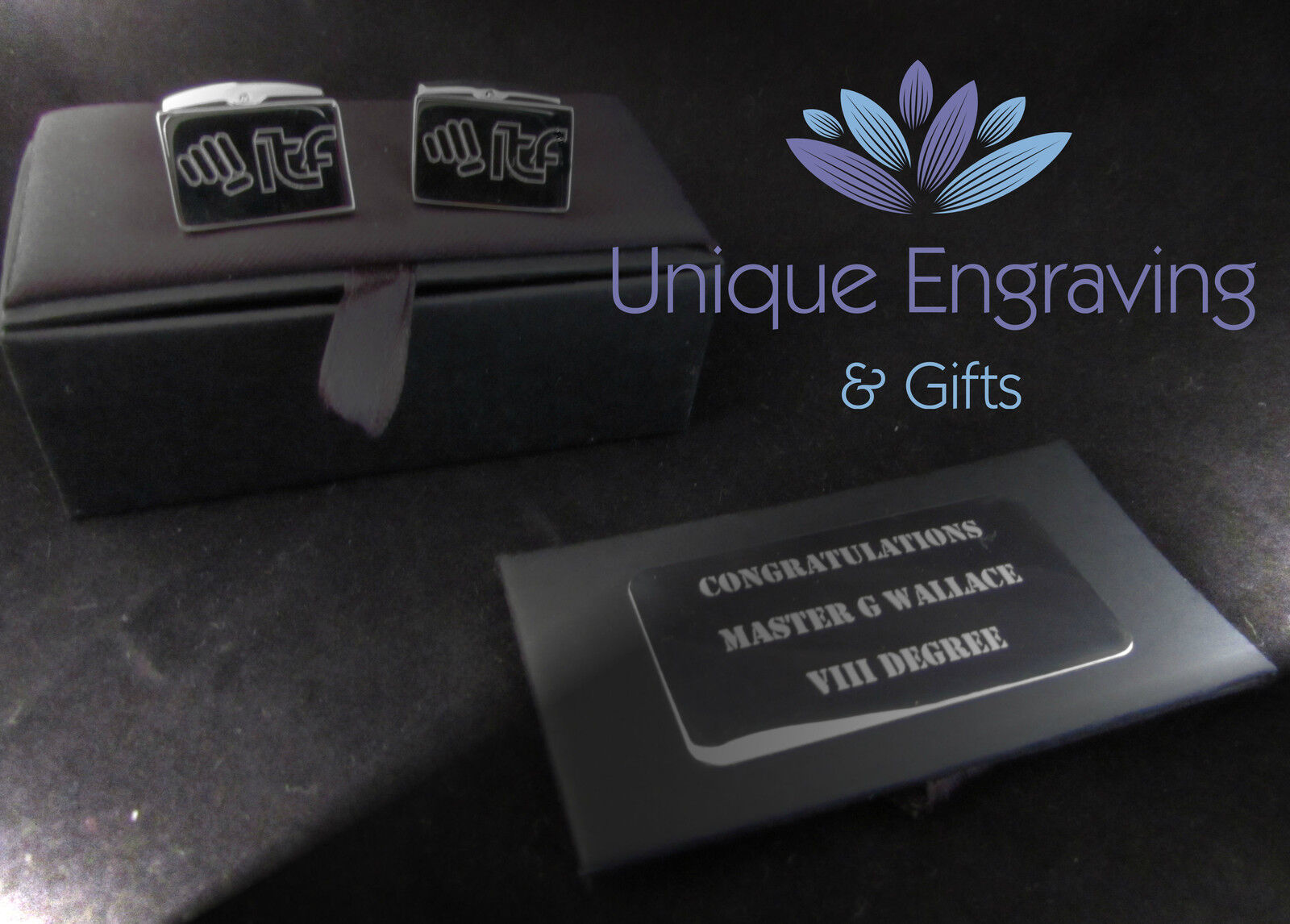 Personalised Rose Gold Square cufflinks personalised with names makes a perfect Christmas,Birthday or Fathers day gift rgcls7