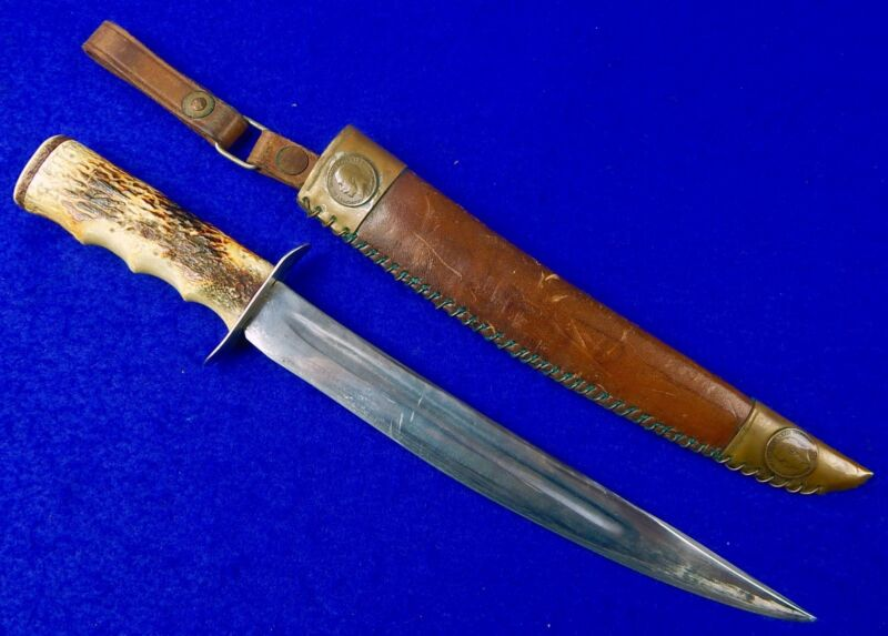 Vintage British English WW2 Theater Sword Blade Fighting Knife w/ Coin Scabbard