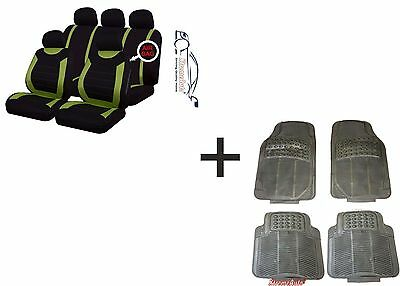 CARNABY GREEN Universal CAR SEAT COVERS PROTECTORSRUBBER MATS GENUINE FOOT WELL
