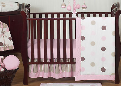 Pink & Brown Polka Dot Bumperless Baby Girl Crib Bedding Set Room (Brown Baby Bedding)