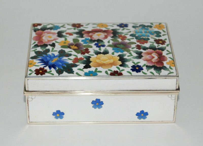 Wonderful Japanese Cloisonne Enamel Box with Flowers by Inaba in Mint Condition