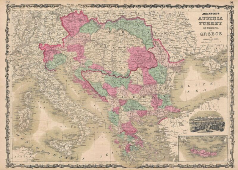 1863 Johnson Map of Austria, Turkey, and Greece