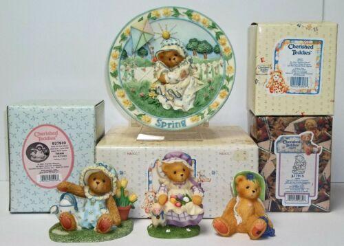 Cherished Teddies Spring Plate + Tatum, Anita & Veronica Figurines Plate Signed