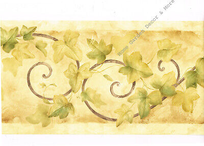 Tuscan Tuscany Green Ivy Vine Leaf Scroll Golden Tan Wallpaper Border (Ivy Scroll Border)