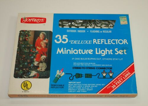 Vintage Christmas JOYBRITE Petal REFLECTOR LIGHTS 35 Mini Light String Set NIB