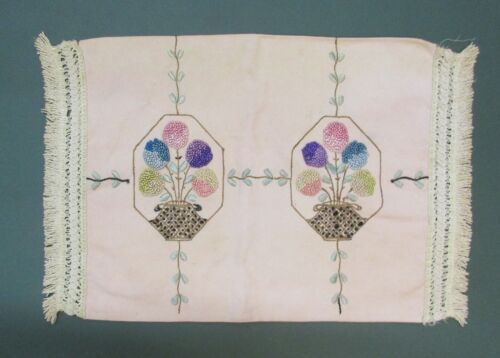 ARTS AND CRAFT LINEN PILLOW COVER WITH EMBROIDERED DESIGN