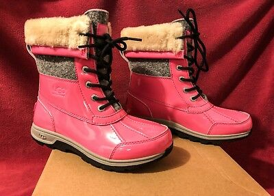 UGG K Butte II Patent Pink Sparkle Lace-up Boots Kids 4 Women 6 NEW w/ BOX - Childrens Pink Patent Boots