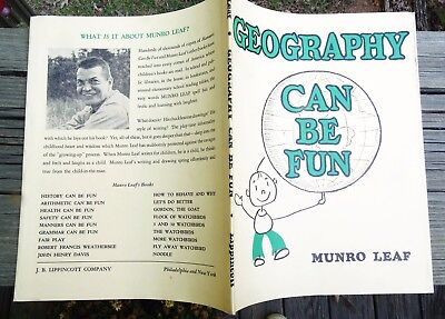 RARE 1950s GEOGRAPHY CAN BE FUN BY MUNRO LEAF JACKET SLEEVE DUST COVER ONLY EXC