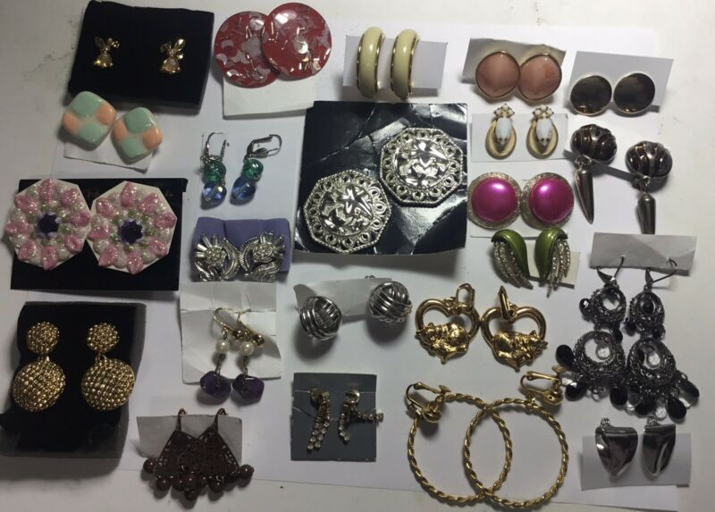 VINTAGE COSTUME 23 SETS OF CLIP ON EARRINGS BY AVON TIMELESS ELEGANCE AND BEAUTY