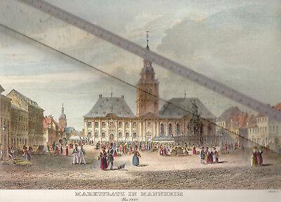 NEUDRUCK von alter Lithographie -  Marktplatz in Mannheim um 1840 - DIN a 3