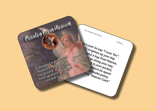 """""""PENNIES FROM HEAVEN"""" Poem -1 Angel Coin / Genuine U.S. Carded Penny - sku 726 A"""