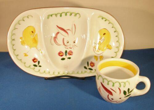 Vintage STANGL Pottery Kiddie Ware Divided Dish with Mug Barnyard Series