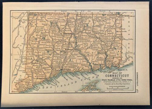 Authentic 1891 Color Map ~ CONNECTICUT ~ Great Detail ~ Original RARE