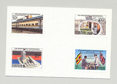 Uganda 1982 Independence, Flags, Food 4v Imperf Proofs on Card Unissued