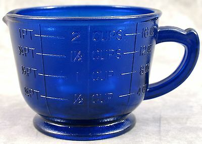 COBALT BLUE GLASS 2-CUP MEASURING MIXING CUP ~ Ounce Cup Pint Measurements ~