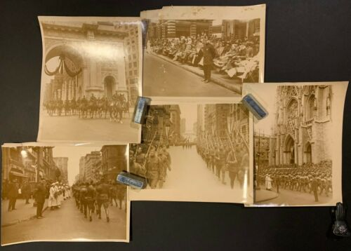 1919 77th INFANTRY US ARMY WWI HOMECOMING PARADE Wounded Soldiers NYC 5 PHOTOS