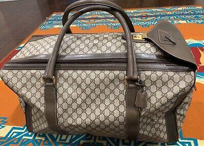 VTG GUCCI Weekender Gym Bag Brown Monogram Leather Travel Carry ON Supreme Web
