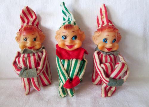 Lot of 3 Vtg Knee Hugger Christmas Pixie Elves -Striped Felt, Long Noses - Japan