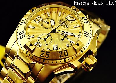 Invicta Men's 50mm Excursion Swiss Chronograph Gold Dial Gold Plated SS Watch