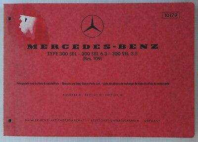 Mercedes-Benz Spare Parts Catalogue 1960s Modes 300SEL, 300SEL 3.5, 300SEL 6.3