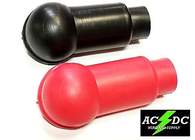 Red & Black Pair of Flexible Battery/Starter Terminal Insulator Boots 2/0 (Terminal Insulator)