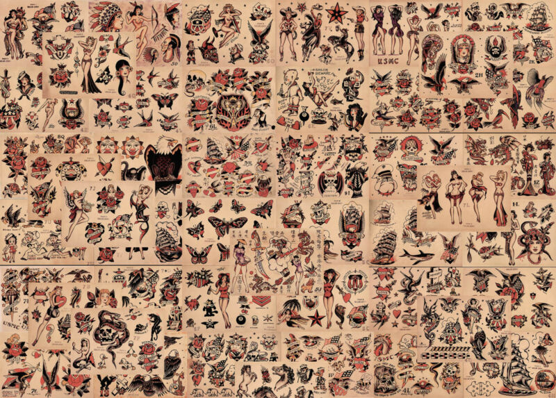 """Sailor Jerry Traditional Vintage Style Tattoo Flash 48 Sheets 11x14"""" Old School"""