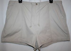 New-York-amp-Co-Khakis-Misses-XL-16-Shorts-Tan-Drawstring-Tie-Front-Zipper-Pocket