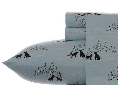 Eddie Bauer Dog Friends Flannel Sheet Set, Blue, King