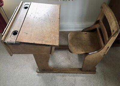 Vintage Antique Oak School Desk wooden adjustable Frame- Lift Up Seat.