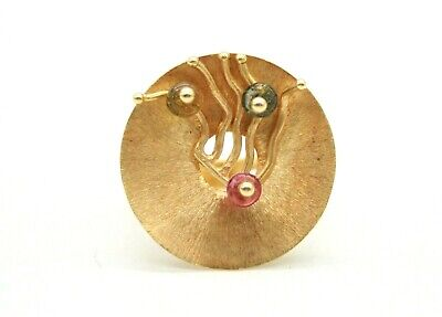 QUADRI 18K YELLOW GOLD COLORFUL GLASS BEADS COCKTAIL RING.SIZE 8.75 FROM ITALY for sale  Atlanta