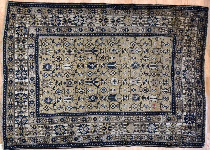 Special Shirvan - 1900s Antique Caucasian Rug - Tribal Carpet - 3.9 X 5.3 Ft.