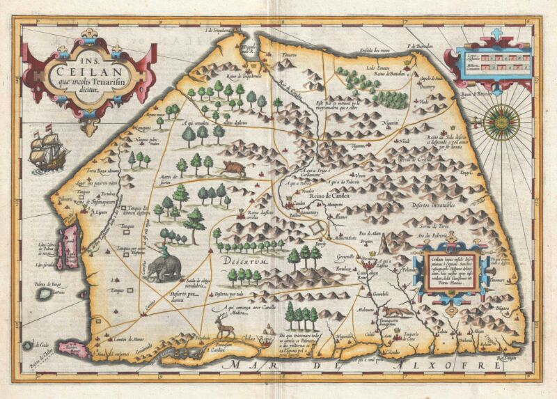 1609 Mercator and Hondius Map of Ceylon or Sri Lanka