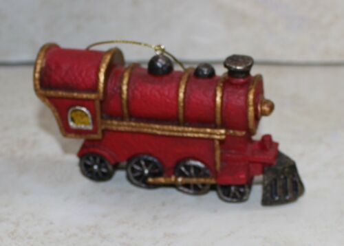 Red Resin Train Locomotive Engines Christmas Tree Ornaments New NWOT