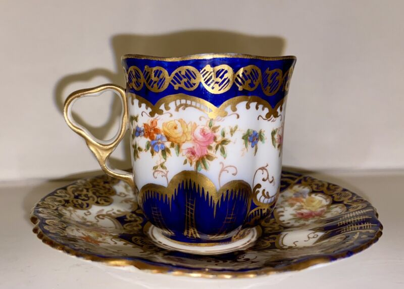Antique Crown Staffordshire England Bone China Demitasse Cup and Saucer Cobalt