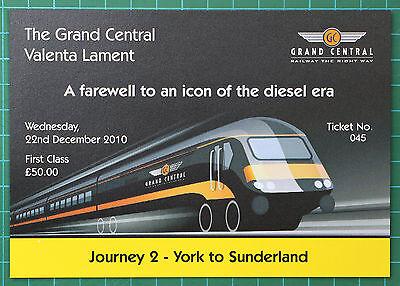 Grand Central HST Valenta Lament ticket 2010 FIRST, trip 2 York to Sunderland