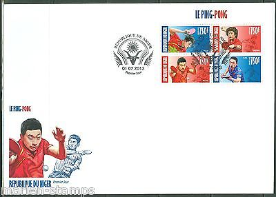 NIGER 2013  CHINESE PING PONG PLAYERS  SHEET OF FOUR FIRST DAY COVER