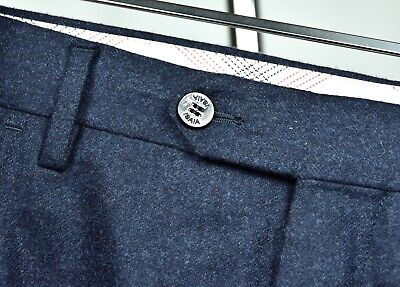 STUNNING Isaia Napoli Deep Blue FLANNEL Wool Pants 40 ITALY RECENT Current