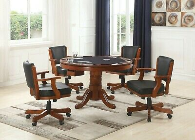 3 IN 1 POKER BUMPER POOL CHESTNUT DINING GAME TABLE & 4 ROLLING ARM CHAIRS SET Contemporary Set Game Table